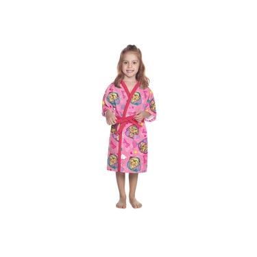 Roupão Aveludado Infantil Lepper Barbie Reinos Mágicos Pink P