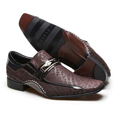 Sapato Social Masculino Calvest com Metal Dourado Estampado 1930C229ESC-Café-41