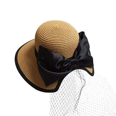 Chapéu de palha infantil chapéu de praia com laço de granadina para uso ao ar livre (Cáqui)