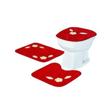 7a0aa1e3bb Jogo De Tapete Para Banheiro 3 Peças Bordado Margarida Única Standard Em  Pelúcia - Vermelho