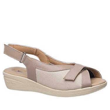 Sandália Anabela Esporão 196 em Couro Ocre/Gelo/Techprene Gelo Doctor Shoes -Bege-37