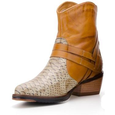Bota Capelli Boots Texana em Couro Castanho  feminino