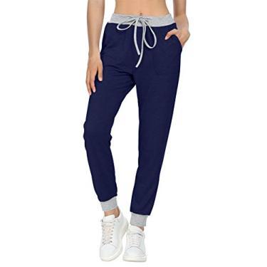 LONGYUAN Calça de corrida feminina casual confortável com cordão na cintura, calça de algodão macia para relaxar, Azul marinho, S