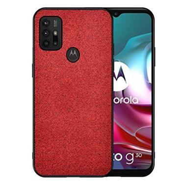 SHUNDA Capa para Motorola Moto G30, capa de tecido macio com interior de TPU antiderrapante, resistente a arranhões, elegante e fina, capa protetora para celular - vermelha