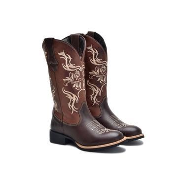 Bota Texana Couro Feminina Cano Longo Rodeio Bico Redondo Marrom