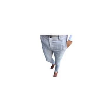 Calças compridas moda masculina casual empresarial slim fit listrado com zíper