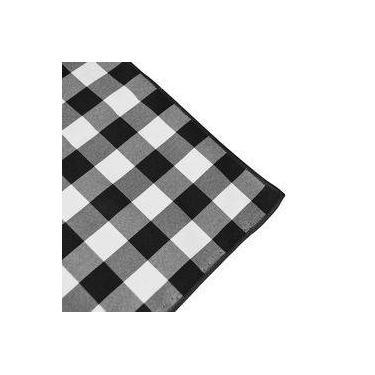 Imagem de Toalha De Mesa Quadrada Em Tecido Xadrez Preto E Branco 1,40m