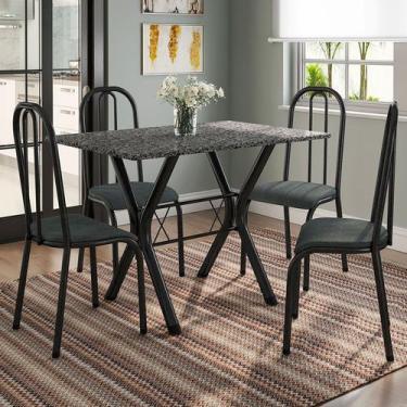 Imagem de Conjunto De Mesa Miame 110 Cm Com 4 Cadeiras Madri Preto E Mesclado Pe