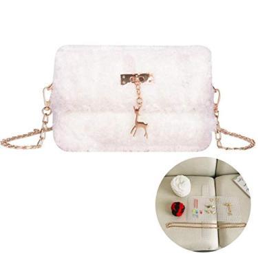 Bolsa tiracolo Outgeek DIY fofa bolsa de ombro de pelúcia bolsa de mão kit de fabricação para mulheres meninas, Marrom, One Size