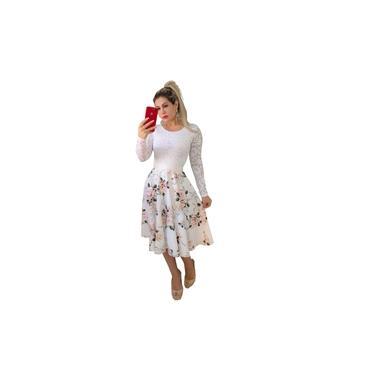 Vestido Midi De Noiva Casamento Civil Luxo Godê