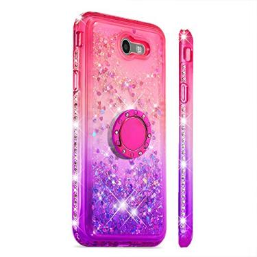 Capa GLORYSHOP para Samsung J7 2017, glitter dégradé areia movediça Bling diamante flutuante líquido com anel de suporte TPU macio bumper para meninas capa feminina para Galaxy J7 2017, rosa e roxo