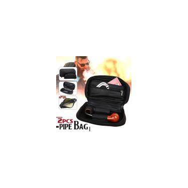 Embreagem de bolsa de couro macio para 2 tubulações, Bolsa para cachimbo clássica portátil + Bolsa para tabaco Durável