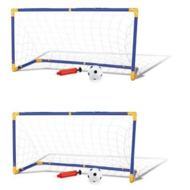 Imagem de Kit 2 Trave E Bola Infantil Chute A Gol Com Rede Bomba Brinquedo Futebol Dmt5075