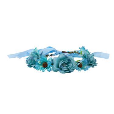 Tiara headband com flores aster lara Azul turquesa