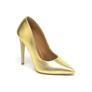 Scarpin Feminino Metalizado Salto Alto Bico Fino Ellas Dourado