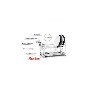 Imagem de Escorredor de Louça 16 Pratos Inox com Porta Talher Plástico - Makinox - Mak inox