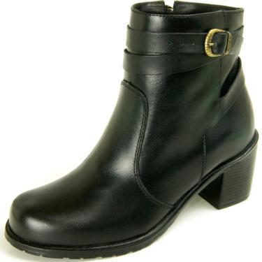 Bota Não Possui Cadarço Ankle Boot Dhatz Com Fivela Preto  feminino