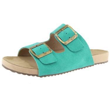 Sandália Birken Roma Shoes em Couro Confort Turquesa  feminino