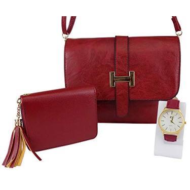 Kit Bolsa Orizom Transversal + Carteira + Relógio Maria Original (Vermelho)