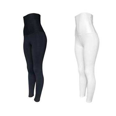 Kit 2 Leggings Plus Size Suplex Modeladora Cós Super Alto PRETO-BRANCO G1