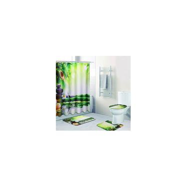 Imagem de Conjunto de tapete antiderrapante com 4 peças de bambu para banheiro cortina de chuveiro à prova d'água para banheiro