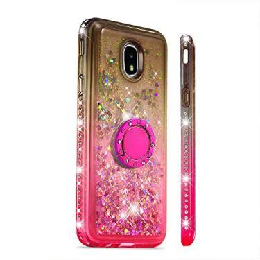 Capa GLORYSHOP para Samsung J7 2018, glitter dégradé areia movediça Bling diamante flutuante líquido com anel de suporte TPU macio bumper para meninas capa feminina para Samsung J7 2018, marrom e rosa