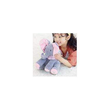 Imagem de Elefante De Pelúcia Com Movimento Interativo Peek a Boo Canta e Mexe as Orelhas Cinza e rosa