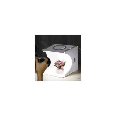 Imagem de Mini Ring Lightbox dobrável portátil de fotografia caixa de estúdio de fotografia Softbox caixa de luz de estúdio kit de tenda de tiro com 6 cenários