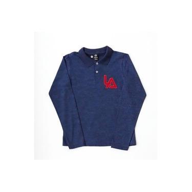 Camiseta Polo Infanto Juvenil Manga Longa Azul Bordada