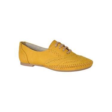 Sapato Feminino Oxford Couro Legítimo Linha Conforto L.A. Amarelo