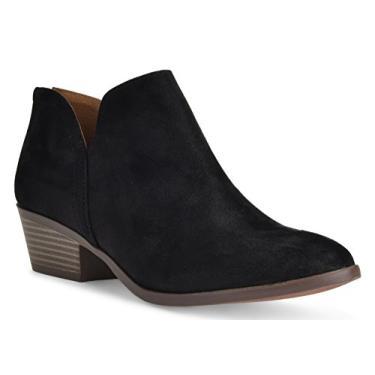 Bota feminina Madeline Western com bico redondo e amêndoa – Salto baixo – Zíper – Bota casual no tornozelo, Black Suede, 6.5