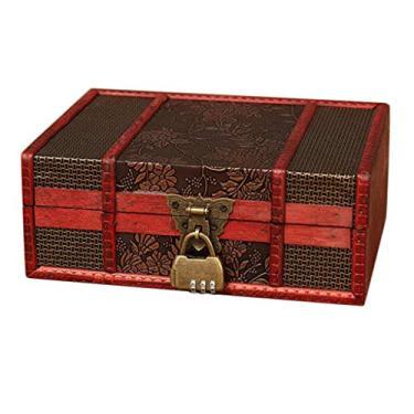 oshhni Caixa de Joias de Madeira Luxuosa Porta-joias Porta-joias Porta-acessórios - 5, Tamanho real