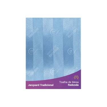 Imagem de Toalha De Mesa Redonda Em Tecido Jacquard Azul Piscina Listrado Tradicional