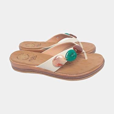 Sandália de Dedo Malu Super Comfort Núbia Feminino Nude 36