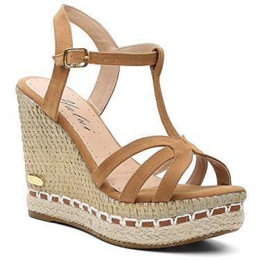 Sandália Plataforma Anabela feminina em Jeans/couro legitimo ref. 3205 (35, caramelo)