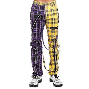 Tripp NYC Calça de bondage com perna dividida [Xadrez roxo/amarelo], Xadrez amarelo/roxo, 34