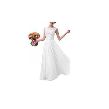 Vestido Casamento Longo Noiva Renda Civil Festa Madrinha