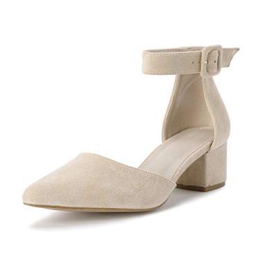 Chellysun sandália feminina bico fino tira no tornozelo fivela salto baixo grosso sapatos de salto alto caqui, Caqui, 11
