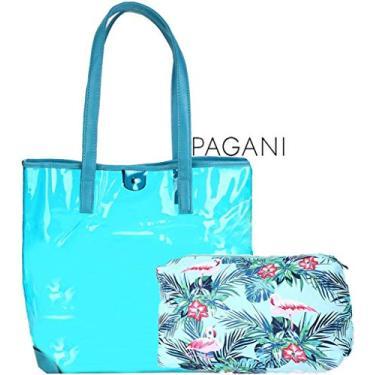 Kit Bolsa De Praia Azul Feminina Transparente Coleção Palha Chic Vinil Tote Grande Várias Cores + Necessaire Tema Tropical Flamingo Pagani Semax