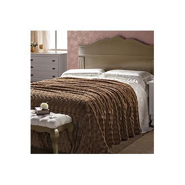 Imagem de Cobertor Plush Solteiro Dupla Face Percal 300 Fios 1,60x2,20m Café - Plumasul