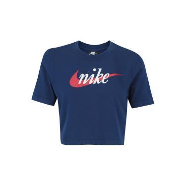 c44719c946579 Blusa Cropped Nike Sportswear Top SS HBR - Feminina - AZUL ESCURO Nike