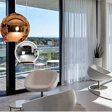 1 Lustre de Globo de Vidro Galvanizado Fashion Criativo para Sala de Estar, Sala de Jantar, Casa e Cozinha
