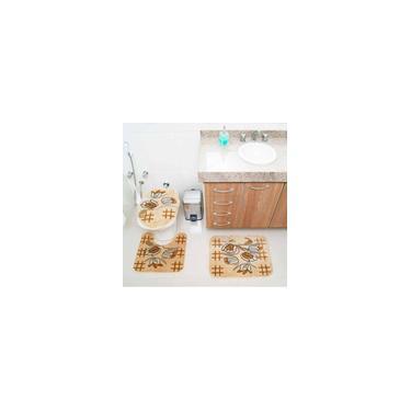 Imagem de Jogo de Tapetes para Banheiro Royal Luxury Rl104 Creme - Rayza Tapetes