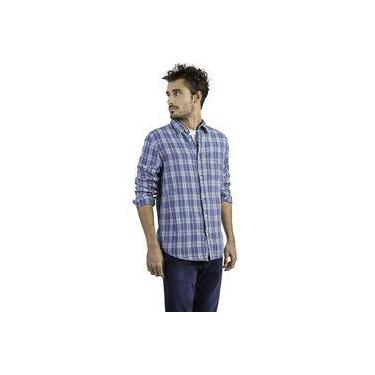 5253e007d0 Camisa Xadrez Manga Longa Azul Claro Taco