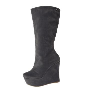 Bota Anabela Salto Alto Week Shoes Camurção Cinza  feminino