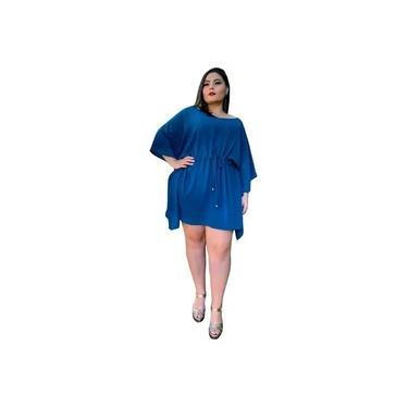 Vestido Kimono Curto Cibele Azul Turquesa