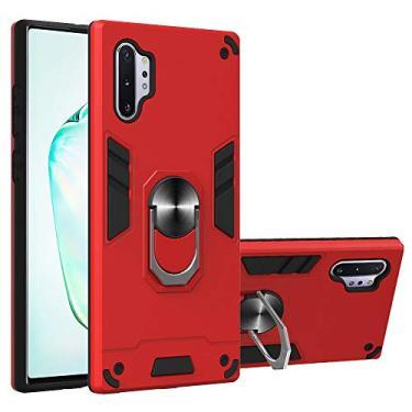 JZ [2 em 1] [Anel de rotação de 360 graus] Capa protetora para celular com suporte para Samsung Galaxy Note 10+ Plus / Note10+ Plus 5G / Note10 Pro - Vermelho