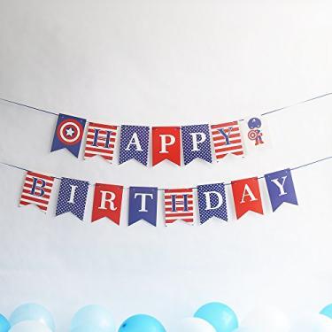 Imagem de Banner de festa tema Capitão América, tema de herói, decoração de festa para meninos, bandeira de festa de aniversário para pendurar na cama, bandeira de festa de feliz aniversário, Azul