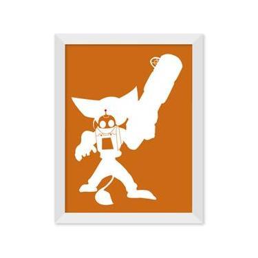 Poster de Ratchet e Clank Laranja Com Moldura - Preto