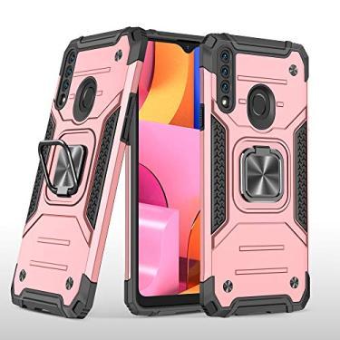 UCASE007 capa para celular Samsung A20S, com fivela magnética giratória em 360 °,rosa